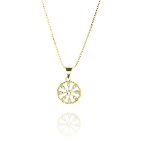New fashion round pendant copper micro inlay zircon circle necklace wholesale NHBP210898's discount tags