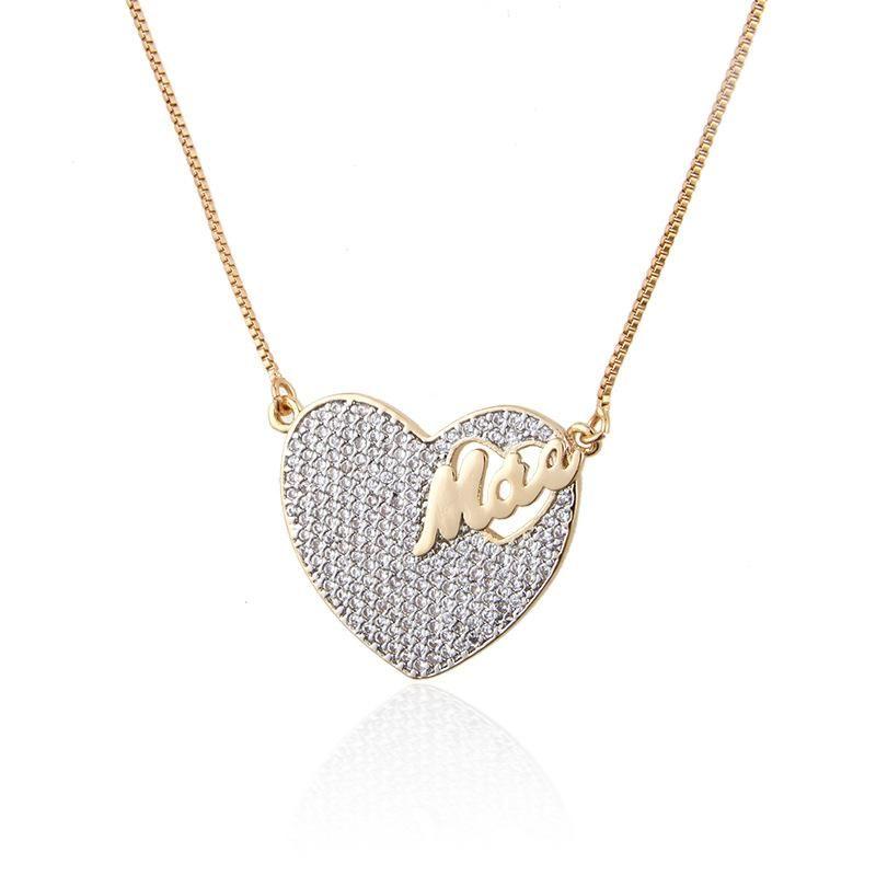 New Fashion Heart Shaped Portuguese MAE Pendant Copper Micro Inlay Zircon Necklace Wholesale NHBP210902