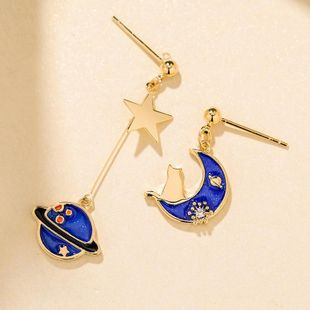 New fashion asymmetric planet wild earrings new 925 silver elegant earrings wholesale NHPP210934's discount tags