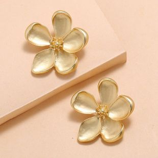 Korean new fashion exaggerated metal petals simple large flower earrings wholesale NHKQ210948's discount tags