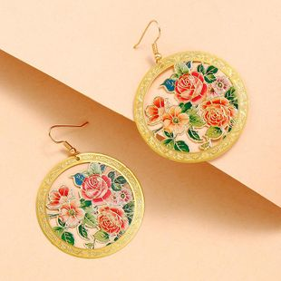 New fashion retro ethnic colorful round hollow flower color enamel earrings wholesale NHKQ210951's discount tags