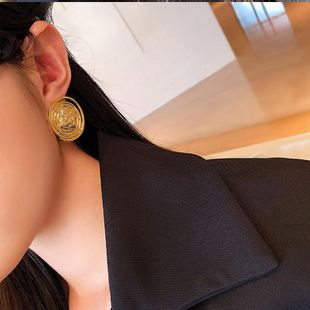 New fashion golden retro metal button earrings 925 silver needle earrings wholesale NHNT210958's discount tags