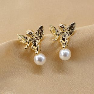 New fashion lucky pearl angel earrings wholesale NHNT210971's discount tags