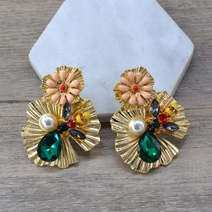 New fashion baroque alloy flower earrings wholesale NHNT210972's discount tags