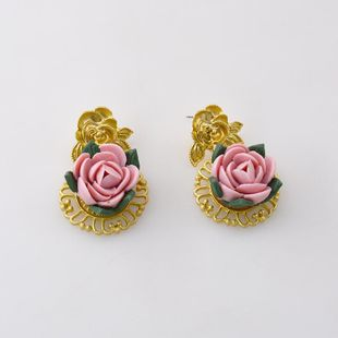 New fashion retro ceramic flower baroque stud earrings wholesale NHNT210974's discount tags