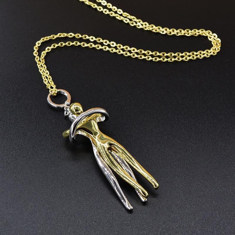 Little gold man embracing necklace pendant angel wings wild necklace sweater chain wholesale NHNT210989