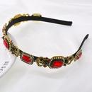 New Baroque square colored gemstone diamond palace cheap headband wholesale NHNT210994