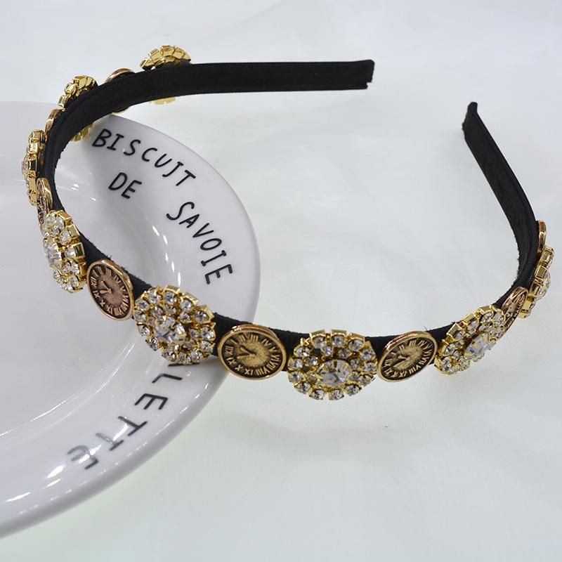 Baroque Retro Palace Feng Shui Diamond Coin Pearl Cheap Hair Band Wholesale NHNT210995