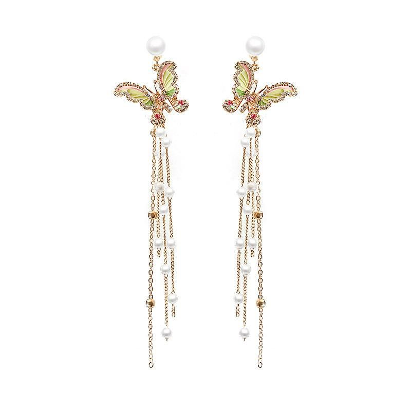 New fashion butterfly long tassel earrings wholesale NHNT210998