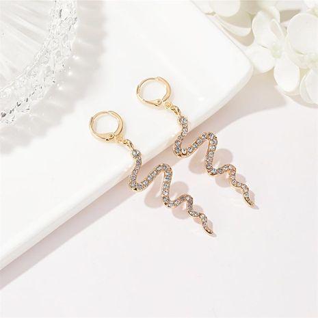 New fashion creative snake-shaped earrings long diamond earrings simple wave earrings wholesale NHDP210747's discount tags