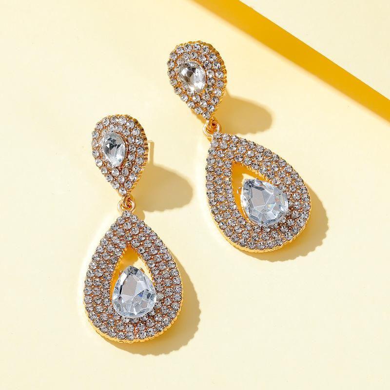 New Long Earrings Super Flash Zircon Water Drop Earrings Crystal Bridal Earrings Wholesale NHDP210755