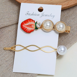 Korean new fashion fruit accessories simple two-piece combination hairpin yiwu nihaojewelry wholesale NHSC211280's discount tags