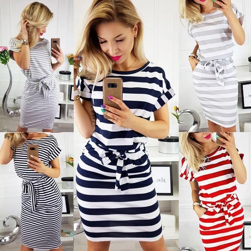 Summer new fashion slim waist slimming round neck striped dress NHYF211020