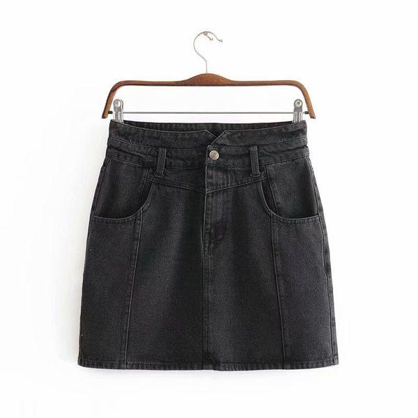 Wholesale summer new women's high waist A-line washed frosted denim short skirt NHAM211026