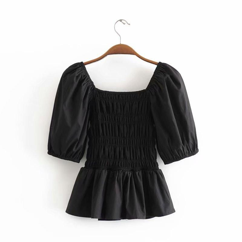 Wholesale New Products Retro Square Collar Short Tops Palace Style Bubble Sleeve Shirt NHAM211044
