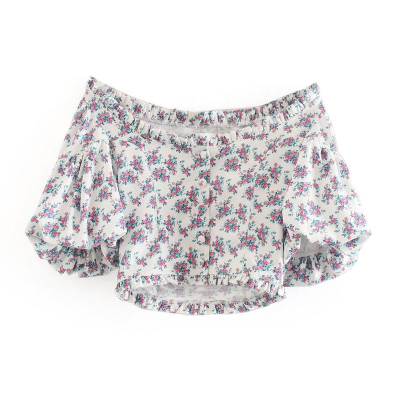 Wholesale spring new floral wood fungus bubble sleeve square collar short-breasted top NHAM211055