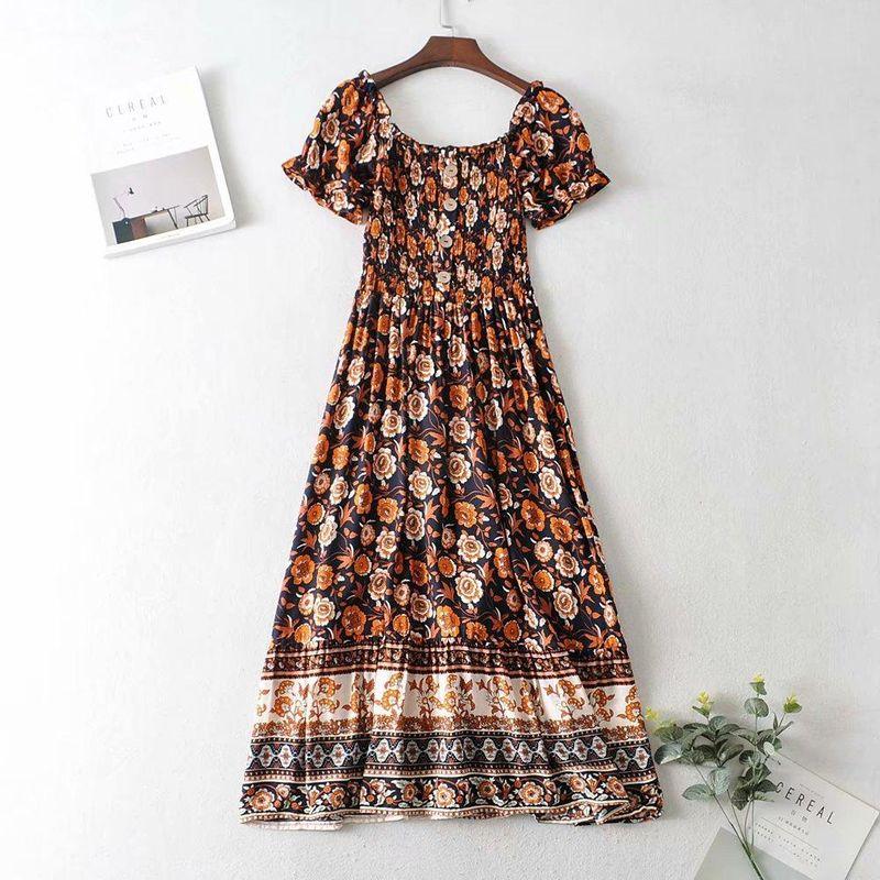 Wholesale summer new women's retro strapless print collar dress NHAM211060