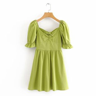 Wholesale spring new fashion square collar French lotus sleeve waist dress NHAM211109's discount tags