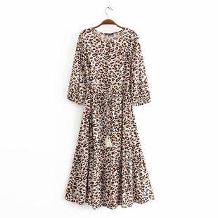 Spring new fashion tassel belt mid-sleeved leopard dress dress NHAM211117's discount tags