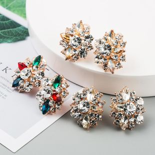 New fashion color flowers rhinestone rose gold ear clip wholesale NHLN211120's discount tags