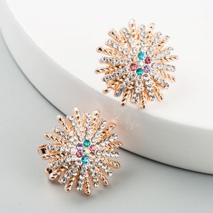 New fashion simple luxury flower female earrings alloy color rhinestone ear clip wholesale NHLN211121's discount tags