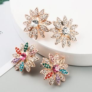 Korean new fashion simple earrings alloy diamond color earrings wholesale NHLN211122's discount tags