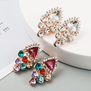 New Fashion Alloy Inlaid Color Rhinestone Flower Earring Wholesale NHLN211125's discount tags