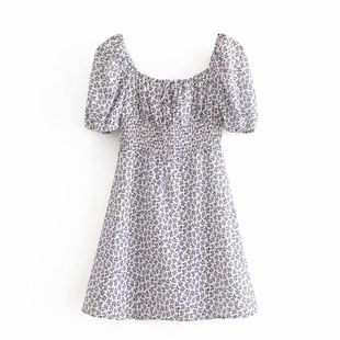 Wholesale spring fashion printed elasticated waist short sleeve dress NHAM211131's discount tags