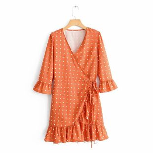 Wholesale summer new fashion V-neck small square print ruffled lace dress NHAM211136's discount tags