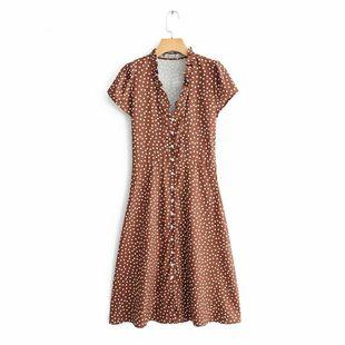 Wholesale new fashion fungus stitching V-neck printed short-sleeved dress NHAM211138's discount tags