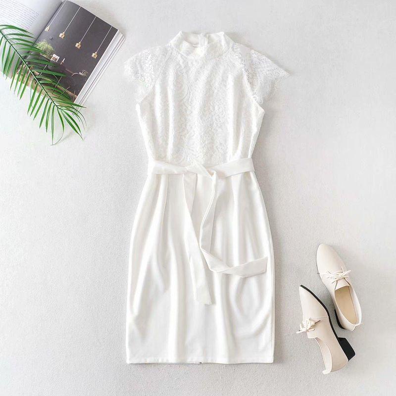 Wholesale new fashion lace stitching lace up collar dress NHAM211139