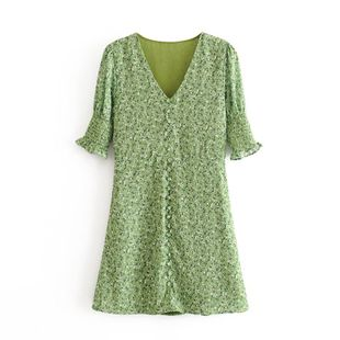 Wholesale spring fashion French V-neck buttoned decorative floral print trim dress NHAM211141's discount tags