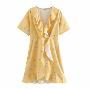 Wholesale spring fashion sweet floral wild lace tie wrap dress NHAM211143's discount tags