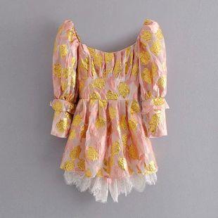 Wholesale new fashion bronzing lace-edged dress NHAM211144's discount tags