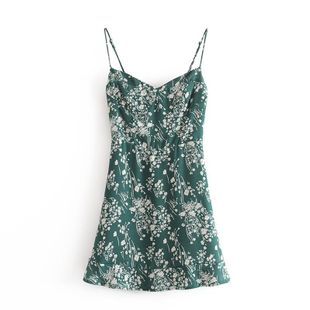 Wholesale spring new fashion idyllic retro floral print ruffled suspender dress NHAM211145's discount tags