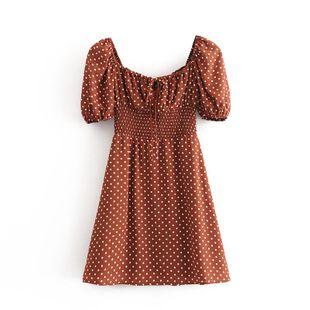 Wholesale Spring Fashion Retro Polka Dot Elastic Waist Square Collar Tie Short Sleeve Dress NHAM211150's discount tags