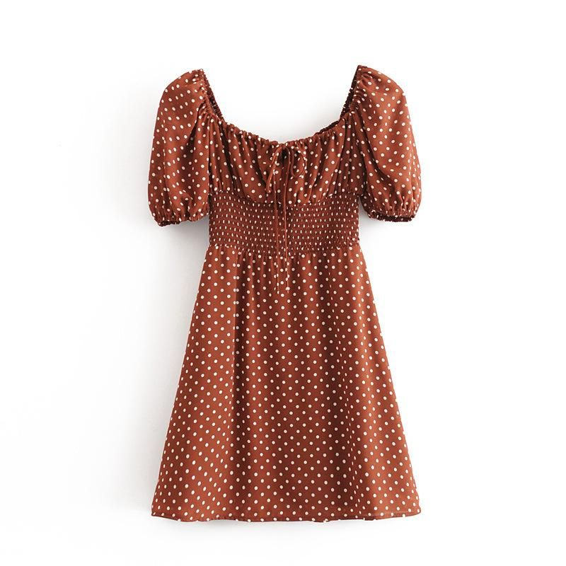 Wholesale Spring Fashion Retro Polka Dot Elastic Waist Square Collar Tie Short Sleeve Dress NHAM211150