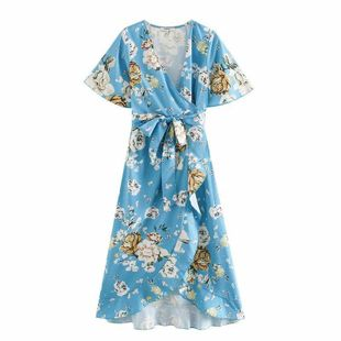Wholesale spring fashion printed short-sleeved wrap frill dress NHAM211151's discount tags