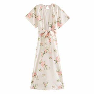 Wholesale Spring Fashion Lace Printed Waist Split Sexy Dress NHAM211152's discount tags