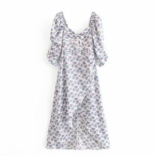 Wholesale new fashion floral floral puff sleeve dress NHAM211154's discount tags