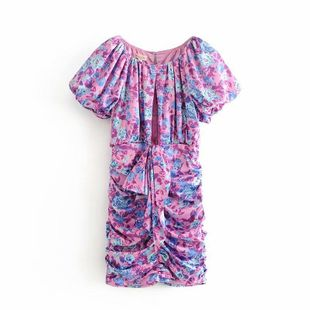 Wholesale New Fashion Purple Flower Pleated Chest Cross Dress NHAM211157's discount tags