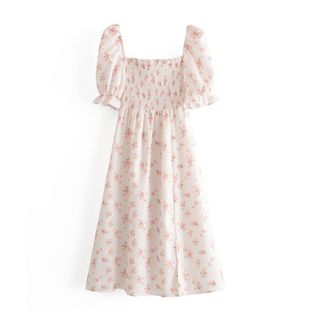 Wholesale spring fashion retro floral print elasticated puff sleeve hem split dress NHAM211161's discount tags