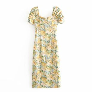 Wholesale spring fashion retro ink printing waist dress NHAM211162's discount tags