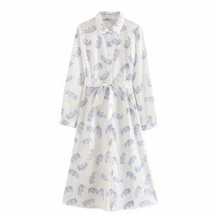 Wholesale Spring Fashion Lapel Long Sleeve Lace Waist Print Shirt Dress NHAM211163's discount tags