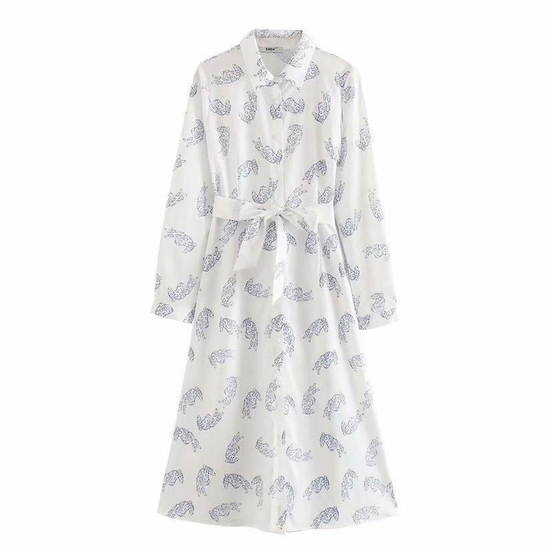 Wholesale Spring Fashion Lapel Long Sleeve Lace Waist Print Shirt Dress NHAM211163