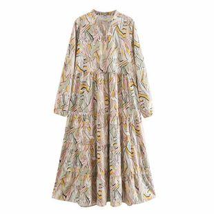 Wholesale Spring Fashion Round Neck Long Sleeve Sweet Print Waist A-line Dress NHAM211165's discount tags