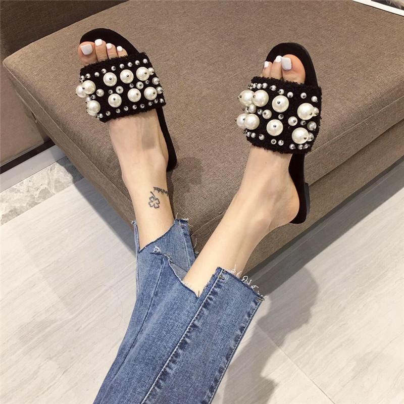 New fashion suede beaded word open toe flat bottom Korean sweet slippers female 35-41 NHEH211166