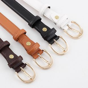 New fashion golden pin buckle cut side belt wild trend denim casual pants belt wholesale NHPO211232's discount tags
