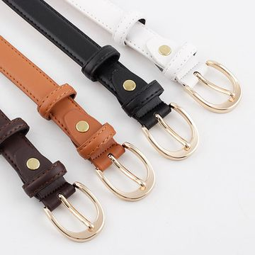 Nueva moda broche de oro hebilla corte cinturón lateral salvaje tendencia denim casual pantalones cinturón al por mayor NHPO211232
