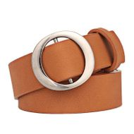Korean new fashion no hole round buckle ladies belt simple wild retro fashion casual wide belt NHPO211233